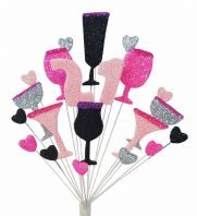 Cocktails 21st birthday cake topper decoration in pink, black and silver - free postage